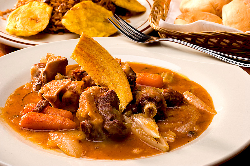 oxtail stew with fried plantains and rice and beans,Chef Ivan Dorvil,food photographer,miami,<br />