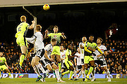 Reading midfielder George Evans (6) jumps highest tin win a header during the EFL Sky Bet Championship match between Fulham and Reading at Craven Cottage, London, England on 3 December 2016. Photo by Andy Walter.