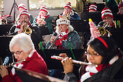 The Milpitas Community Concert Band performs during the Christmas Tree Lighting Ceremony at the Milpitas City Hall's Civic Center in Milpitas, California, on November 30, 2015. (Stan Olszewski/SOSKIphoto)