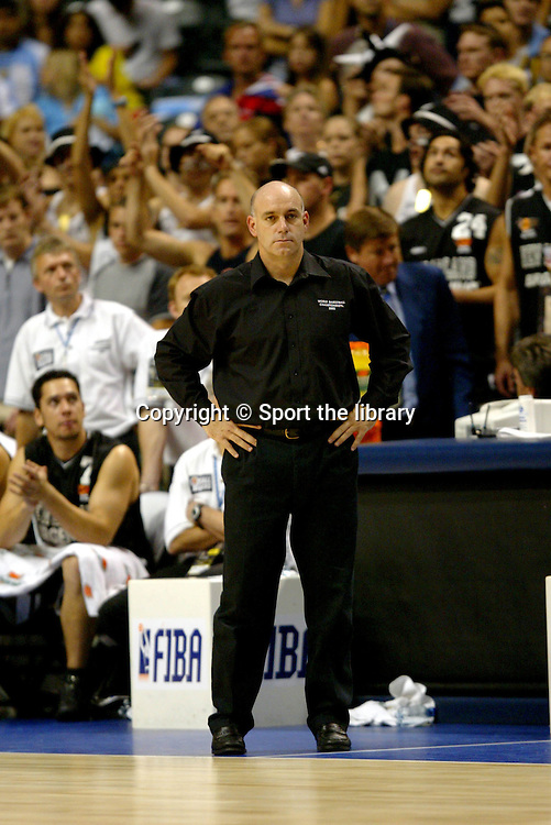 8th September 2002. Head coach Tab Baldwin of New Zealand during their loss to Yugoslavia in the semi finals in Indianapolis, IN, USA during the World Basketball Championships 2002. <br />Pic: Photosport/AJ Mast/Icon SMI