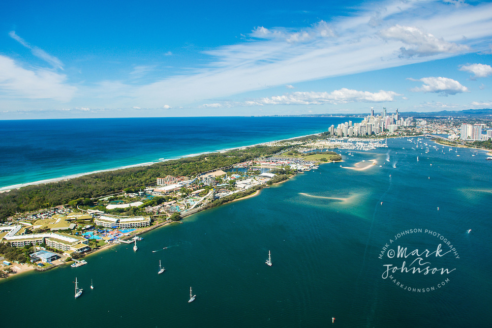 Aerial of the Sea World amusement park, The Spit, Gold Coast, Queensland, Australia