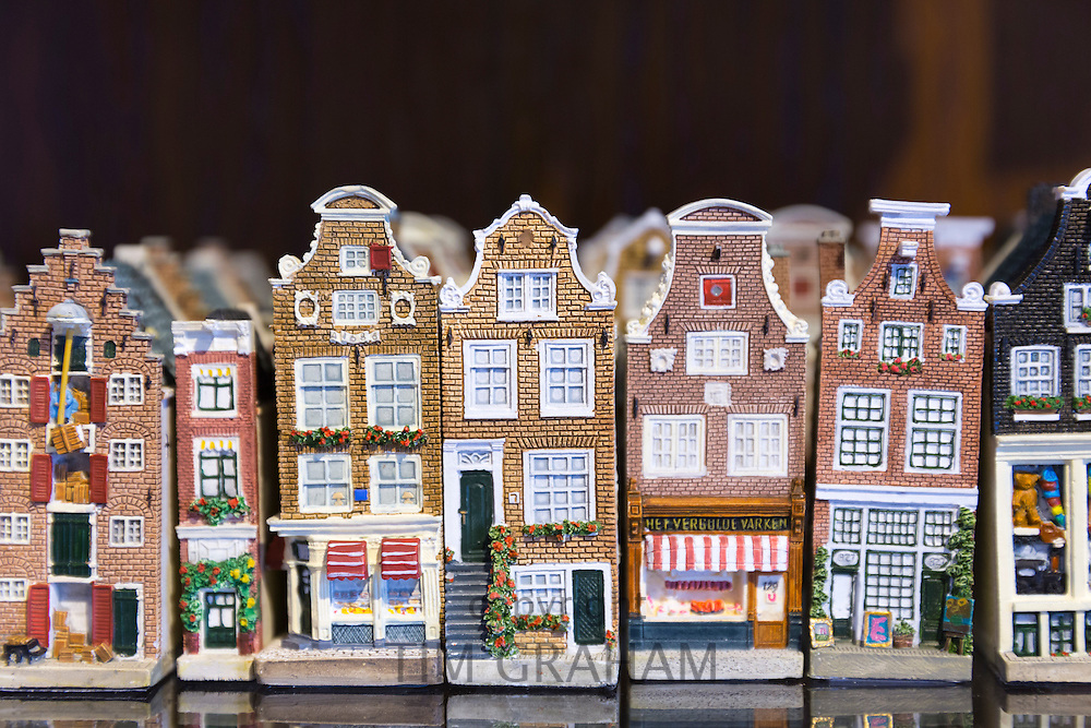 Traditional quaint china pottery painted houses on sale as souvenirs and gifts in Delft shop in Amsterdam, Holland