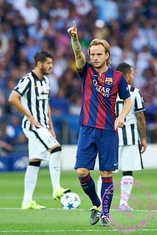 Ivan Rakitic of FC Barcelona celebrates after scoring during the 2014/15 UEFA Champions League Final between Juventus and FC Barcelona at Olympiastadion on June 6, 2015 in Berlin, Germany.<br /> Germany, Berlin, June 6, 2015<br /> <br /> Picture also available in RAW (NEF) or TIFF format on special request.<br /> <br /> For editorial use only. Any commercial or promotional use requires permission.<br /> <br /> Adam Nurkiewicz declares that he has no rights to the image of people at the photographs of his authorship.<br /> <br /> Mandatory credit:<br /> Photo by &copy; Adam Nurkiewicz / Mediasport