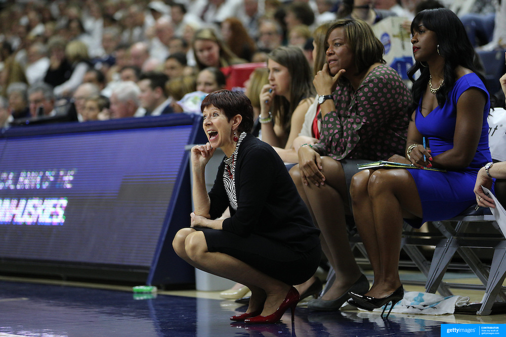 Head Coach Muffet McGraw, Notre Dame, during the Notre Dame Vs UConn Women's Basketball game at Grampel Pavilion, Storrs, Connecticut, USA. 5th December 2015. Photo Tim Clayton