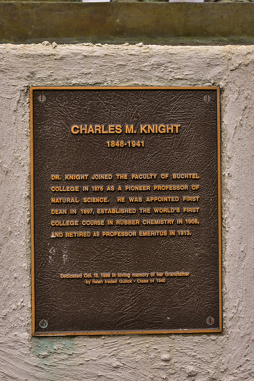 Plaque at the Charles M. Knight statue at The University of Akron.
