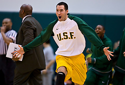 January 30, 2010; San Francisco, CA, USA;  San Francisco Dons forward Blake Wallace (2) celebrates during the second half against the Gonzaga Bulldogs at the War Memorial Gym.  San Francisco defeated Gonzaga 81-77 in overtime.