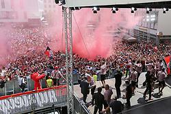 25.05.2015, Rathaus Platz, Ingolstadt, GER, 2. FBL, FC Ingolstadt 04, Aufstiegsfeier, im Bild Die Mannschaft des FC Ingolstadt 04 betritt die Buehne - Bengalos, Pyrotechnik wird gezuendet // during the 2nd German Bundesliga championship party of FC Ingolstadt 04 at the Rathaus Platz in Ingolstadt, Germany on 2015/05/25. EXPA Pictures © 2015, PhotoCredit: EXPA/ Eibner-Pressefoto/ Strisch<br /> <br /> *****ATTENTION - OUT of GER*****
