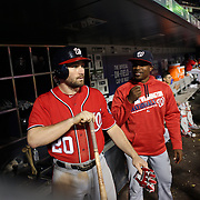 NEW YORK, NEW YORK - July 09: Daniel Murphy #20 of the Washington Nationals in the dugout preparing to bat during the Washington Nationals Vs New York Mets regular season MLB game at Citi Field on July 09, 2016 in New York City. (Photo by Tim Clayton/Corbis via Getty Images)