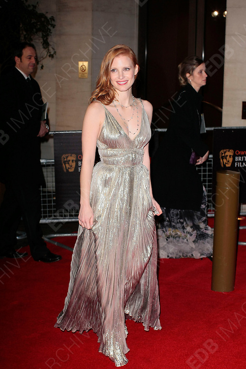 12.FEBRUARY.2012. LONDON<br /> <br /> JESSICA CHASTAIN ATTENDS THE ORANGE BRITISH ACADEMY FILM AWARDS AFTER PARTY AT THE GROSVENOR HOUSE HOTEL IN LONDON<br /> <br /> BYLINE: EDBIMAGEARCHIVE.COM<br /> <br /> *THIS IMAGE IS STRICTLY FOR UK NEWSPAPERS AND MAGAZINES ONLY*<br /> *FOR WORLD WIDE SALES AND WEB USE PLEASE CONTACT EDBIMAGEARCHIVE - 0208 954 5968*