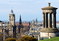 The famous view of Edinburgh from Calton Hill, Edinburgh, Scotland ,UK