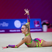 Tkaltschewitsch Lea during qualifying at clubs in Pesaro World Cup 14 April, 2018. Lea was born in Offenbach,  Germany, 2001. Her dream is to compete at the 2020 Olympic Games in Tokyo.