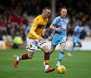 3rd November 2018, Fir Park, Motherwell, Scotland; Ladbrokes Premiership football, Motherwell versus Dundee; Tom Aldred of Motherwell and Kenny Miller of Dundee