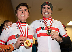 13.01.2019, Wien, AUT, ÖRV, Rad Radcross Staatsmeisterschaft, Herren Elite im Bild v.l. die Meister Nadja Heigl (AUT, KTM Alchemist Racing Team), Gregor Raggl (AUT, Möbel Märki MTB Pro Team) // during mens elite cyclo cross championship, Vienna, Austria on 2019/01/03. EXPA Pictures © 2019, PhotoCredit: EXPA/ R. Eisenbauer