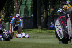 February 3, 2018 - Shah Alam, Kuala Lumpur, Malaysia - Maximilian Kieffer is seen with his caddy at hole no 15 on day 3 at the Maybank Championship 2018...The Maybank Championship 2018 golf event is being hosted on 1st to 4th February at Saujana Golf & Country Club. (Credit Image: © Faris Hadziq/SOPA via ZUMA Wire)