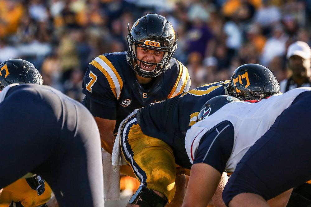 October 7, 2017 - Johnson City, Tennessee - William B. Greene Jr. Stadium: ETSU quarterback Austin Herink (7)<br /> <br /> Image Credit: Dakota Hamilton/ETSU