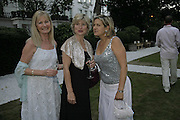 Debbie Moore, Penny smith and Issy van Randwyck,  Ruinart party at The Hempel, Hempel Gardnes.  Craven Hill Gardens. 18 July 2006. <br />