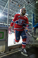 KELOWNA, CANADA - MARCH 7: Jordan Henderson #8 of Spokane Chiefs exits the ice against the Kelowna Rockets on March 7, 2015 at Prospera Place in Kelowna, British Columbia, Canada.  (Photo by Marissa Baecker/Shoot the Breeze)  *** Local Caption *** Jordan Henderson;