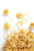 Tagliatelle pasta on white background