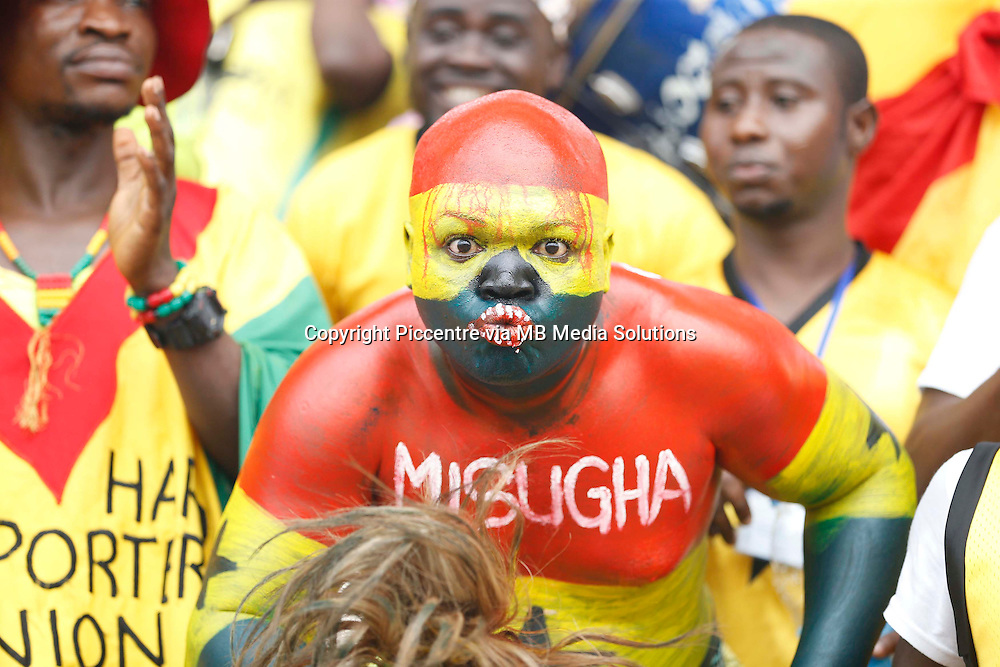 Ghana fan sings during their AFCON 2015 Quarter Finals Match against Guinea on February 1 2015 at Estadio de Malabo Equatorial Guinea. Photo/Mohammed Amin/www.pic-centre.com (Equatorial Guinea)