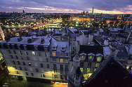 France. Paris. elevated view. The Seine river and the pont neuf , view from St Germain L'auxerrois church (1st)