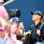 2017 U.S. Open Tennis Tournament - DAY THREE.  Maria Sharapova of Russia enters the arena for her match against Timea Babos of Hungary during the Women's Singles round two match at the US Open Tennis Tournament at the USTA Billie Jean King National Tennis Center on August 30, 2017 in Flushing, Queens, New York City.  (Photo by Tim Clayton/Corbis via Getty Images)