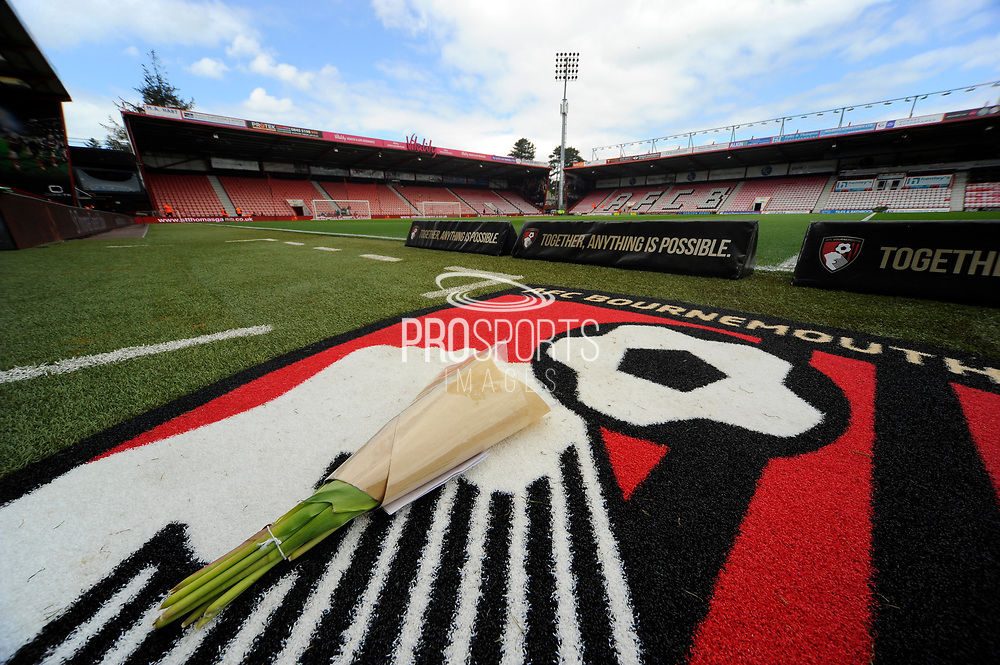 Flowers on the Bournemouth logo pitchside before the Premier League match between Bournemouth and Middlesbrough at the Vitality Stadium, Bournemouth, England on 22 April 2017. Photo by Graham Hunt.