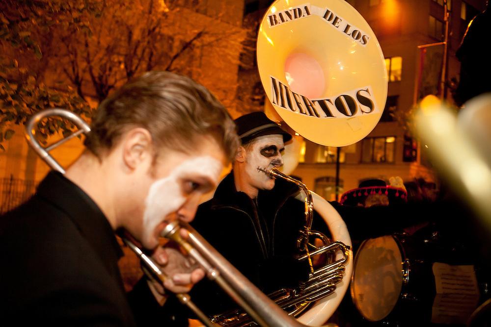 Banda de los Muertos getting ready to join the parade