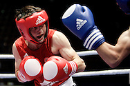Milan, 05-09-2009 ITALY - Aiba World Boxing Championship Milan 2009.  Light Fly 48 kg preliminaries..Pictured: Ayrapetyan David RUS red vs Pehlivan Ferhat TUR blue.Photo by Giovanni Marino/OTNPhotos . Obligatory Credit