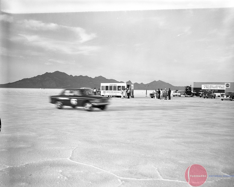 Studebaker's #6 Commander is shown at speed at the Bonneville Salt Flats, October, 1963.