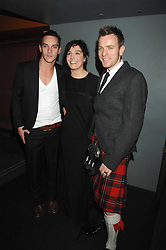 Left to right, JONATHAN RHYS MEYERS, SHARLEEN SPITERI and EWAN MCGREGOR at 'Not Another Burns Night' in association with CLIC Sargebt and Children's Hospice Association Scotland held at ST.Martins Lane Hotel, London on 3rd March 2008.<br />