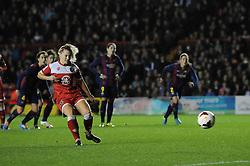 Bristol Academy Womens' Nikki Watts scores a penalty - Photo mandatory by-line: Dougie Allward/JMP - Mobile: 07966 386802 - 13/11/2014 - SPORT - Football - Bristol - Ashton Gate - Bristol Academy Womens FC v FC Barcelona - Women's Champions League