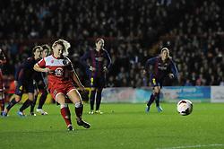Bristol Academy Womens' Nikki Watts scores a penalty - Photo mandatory by-line: Dougie Allward/JMP - Mobile: 07966 386802 - 13/11/2014 - SPORT - Football - Bristol - Ashton Gate - Bristol Academy Womens FC v FC Barcelona - Women's Champions League