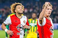 ROTTERDAM - Feyenoord - ADO Den Haag , Voetbal , KNVB Beker , Seizoen 2016/2017 , De Kuip , 14-12-2016 , Feyenoord speler Dirk Kuyt (r) viert zijn goal voor de 2-0 samen met Feyenoord speler Tonny Vilhena (l)