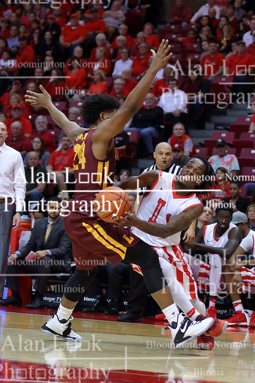 19 February 2017:  Paris Lee(1) forces his way past defender Aundre Jackson during a College MVC (Missouri Valley conference) mens basketball game between the Loyola Ramblers and Illinois State Redbirds in  Redbird Arena, Normal IL