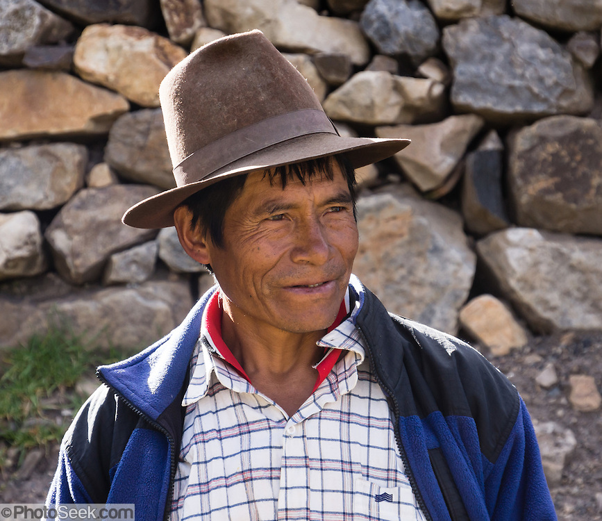 Campesino man, trekking support staff, in Llamac village, Cordillera Huayhuash, Andes Mountains, Peru, South America. Day 9 of 9 days trekking around the Cordillera Huayhuash.