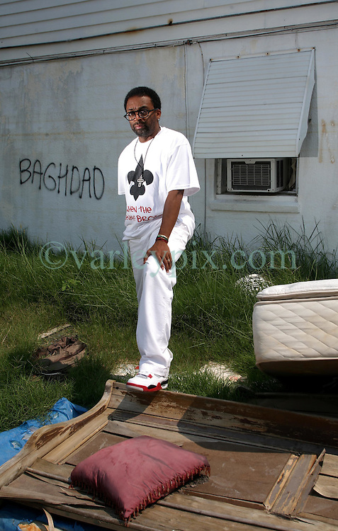 22 July 2006 .New Orleans. Louisiana. <br /> Movie director Spike Lee revisits New Orleans, the French Quarter and the shattered Lower 9th ward  prior to the release of his HBO movie 'When the Levees Broke.'<br /> Photo ©; Charlie Varley/varleypix.com