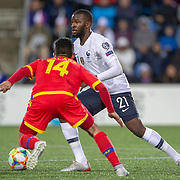 ANDORRA LA VELLA, ANDORRA. June 1.  Tanguy Ndombele #21 of France defended by Jordi Alaez #14 of Andorra during the Andorra V France 2020 European Championship Qualifying, Group H match at the Estadi Nacional d'Andorra on June 11th 2019 in Andorra (Photo by Tim Clayton/Corbis via Getty Images)