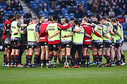 Edinburgh huddle before the Guinness Pro 14 2017_18 match between Edinburgh Rugby and Glasgow Warriors at Myreside Stadium, Edinburgh, Scotland on 28 April 2018. Picture by Kevin Murray.