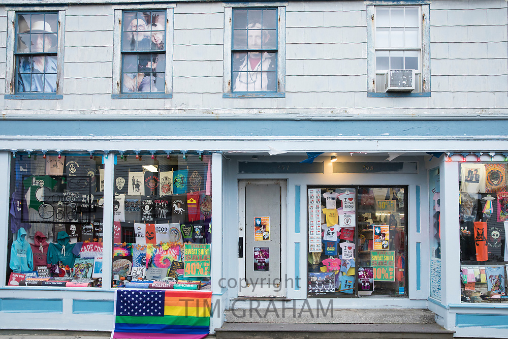 Souvenirs and gifts on sale in clapboard store at Provincetown, Cape Cod, New England, USA