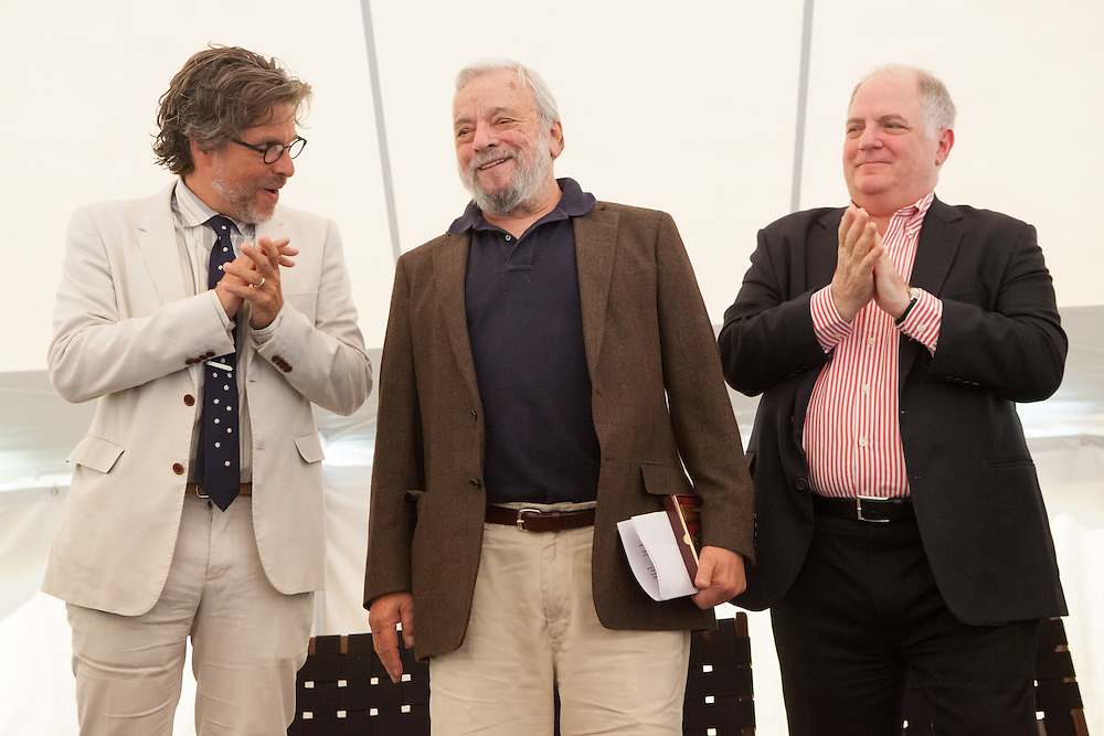 Broadway composer and lyricist Stephen Sondheim (C)  is applauded by MacDowell Colony Chairman Michael <br /> Chabon (L) and New York Magazine columnist Frank <br /> Rich after accepting the Edward MacDowell Medal for lifetime achievement, at the MacDowell Colony, in Peterborough, NH on Sunday, August 11, 2013. Sondheim has won more Tony Awards than any other composer. His hit musicals include &quot;Follies,&quot; ''A Little Night Music&quot; and &quot;Sweeney Todd.&quot;  (Matthew Cavanaugh Photo)