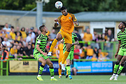 Newport County's Joss Labadie(4) heads the ball during the EFL Sky Bet League 2 match between Forest Green Rovers and Newport County at the New Lawn, Forest Green, United Kingdom on 31 August 2019.