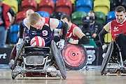 UNITED KINGDOM, London: 2015 World Wheelchair Rugby Challenge. Caption: Great Britain's Jim Roberts sprints for a try in a match against France. Rick Findler / Story Picture Agency