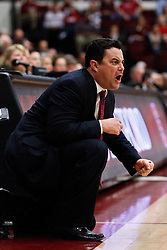 February 3, 2011; Stanford, CA, USA;  Arizona Wildcats head coach Sean Miller yells at his team from the sidelines against the Stanford Cardinal during the first half at Maples Pavilion.  Arizona defeated Stanford 78-69.
