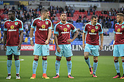 Dan Agyei (Burnley), Stephen Ward (Burnley), Andre Gray (Burnley), Dean Marney (Burnley) and Michael Kightly (Burnley) before the Pre-Season Friendly match between Bolton Wanderers and Burnley at the Macron Stadium, Bolton, England on 26 July 2016. Photo by Mark P Doherty.