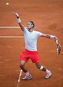 Rafael Nadal of Spain competes in men's singles while Day Second during The French Open 2013 at Roland Garros Tennis Club in Paris, France...France, Paris, May 27, 2013..Picture also available in RAW (NEF) or TIFF format on special request...For editorial use only. Any commercial or promotional use requires permission...Mandatory credit:.Photo by © Adam Nurkiewicz / Mediasport