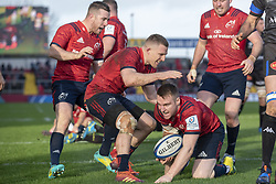 December 9, 2018 - Limerick, Ireland - Rory Scannell of Munster celebrates scoring with Andrew Conway and JJ Hanrahan during the Heineken Champions Cup Round 3 match between Munster Rugby and Castres Qlympique at Thomond Park Stadium in Limerick, Ireland on December 9, 2018  (Credit Image: © Andrew Surma/NurPhoto via ZUMA Press)