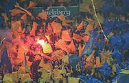 FODBOLD: Brøndby fans under finalen i DBU Pokalen mellem Brøndby IF og FC Midtjylland den 17. maj 2019 i Telia Parken. Foto: Claus Birch