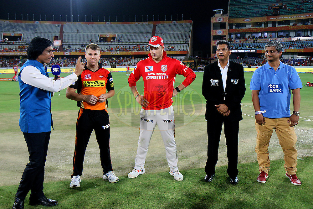 David Warner of Sunrisers Hyderabad and  Kings XI Punjab captain David Miller at Toss during match 18 of the Vivo IPL 2016 (Indian Premier League ) between the Sunrisers Hyderabad and the Kings XI Punjab held at the Rajiv Gandhi Intl. Cricket Stadium, Hyderabad on the 23rd April 2016<br /> <br /> Photo by Rahul Gulati / IPL/ SPORTZPICS