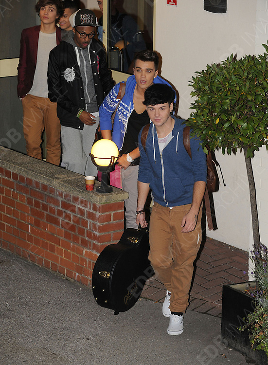 14.OCTOBER.2012. LONDON<br /> <br /> JAYMI HENSLEY, GEORGE SHELLEY, JOSH CUTHBERT AND SIMEON DIXON LEAVING THE X-FACTOR STUDIOS AFTER THE RESLUTS SHOW.<br /> <br /> BYLINE: EDBIMAGEARCHIVE.CO.UK<br /> <br /> *THIS IMAGE IS STRICTLY FOR UK NEWSPAPERS AND MAGAZINES ONLY*<br /> *FOR WORLD WIDE SALES AND WEB USE PLEASE CONTACT EDBIMAGEARCHIVE - 0208 954 5968*