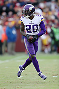 Minnesota Vikings cornerback Mackensie Alexander (20) runs with the ball after intercepting a second quarter pass for a gain of 10 yards to the Washington Redskins 23 yard line during the 2017 NFL week 10 regular season football game against the Washington Redskins, Sunday, Nov. 12, 2017 in Landover, Md. The Vikings won the game 38-30. (©Paul Anthony Spinelli)